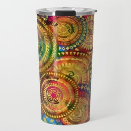Colorful Circular Tribal  pattern with gold Travel Mug
