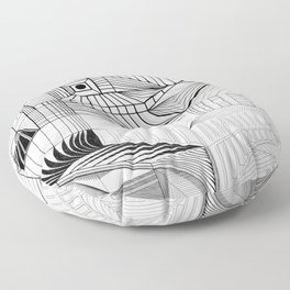 Geometric Architectural Bird-01 Floor Pillow