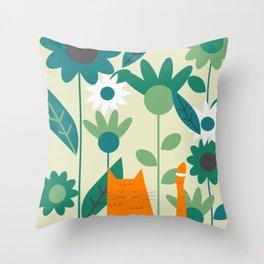 Ginger kitty at the botanic garden Throw Pillow