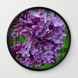 Lilac Blooms Wall Clock