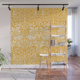 Birds and Rabbits in Marigold Sunshine Golden Yellow (William Morris 1882 Antique Vintage Pattern) Wall Mural