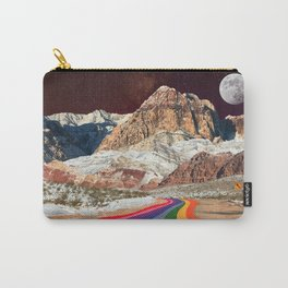 Trippy 1960s Stars and Moon Retro Red Rock Canyon Collage Milky Way Galaxy Colors Carry-All Pouch