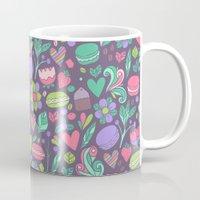 macaroon Mugs featuring Macarons and flowers by Anna Alekseeva kostolom3000