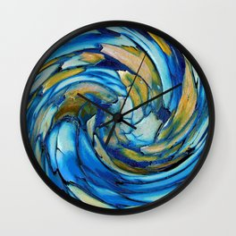 Gold N Blue Abstract Dolphin  Wall Clock