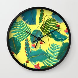 Tropical Nature on Yellow Wall Clock