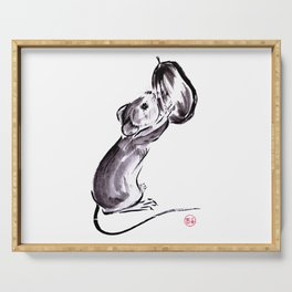 A mouse with a nut sumie ink painting Serving Tray