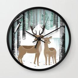 Winter Deer by Andrea Lauren  Wall Clock