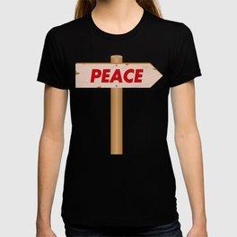 Signpost indicating the peace T-shirt