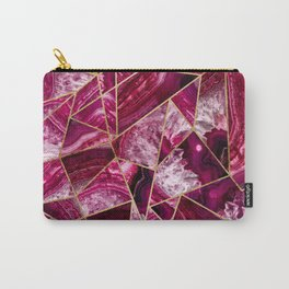 Pink Fuchsia White Agate Gold Geometric Triangles Carry-All Pouch