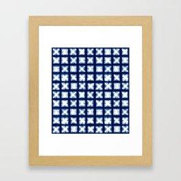 Indigo Shibori Granny Squares Framed Art Print