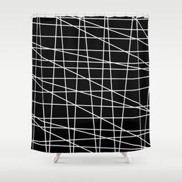 Gossamer. Black and white.1 Shower Curtain
