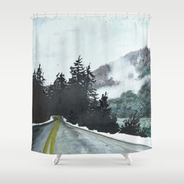 vancouver island // watercolor landscape canada snow mountain road roadtrip Shower Curtain