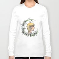 enjolras Long Sleeve T-shirts featuring Enjolras and lilies by MonsterFromTheLAke