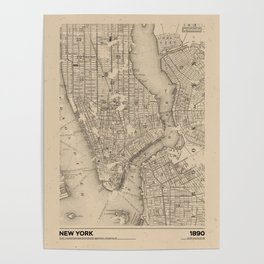 New York 1890 - Old Vintage USA Map Poster