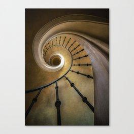 Golden spiral staircase Canvas Print