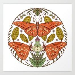 Butterfly Botanical Illustration - Orange Green Art Print