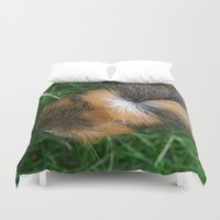 guinea pig Duvet Covers featuring American Crested Guinea Pig by Emily Hunter-Higgins