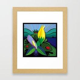 Flowers at the Lake House Framed Art Print
