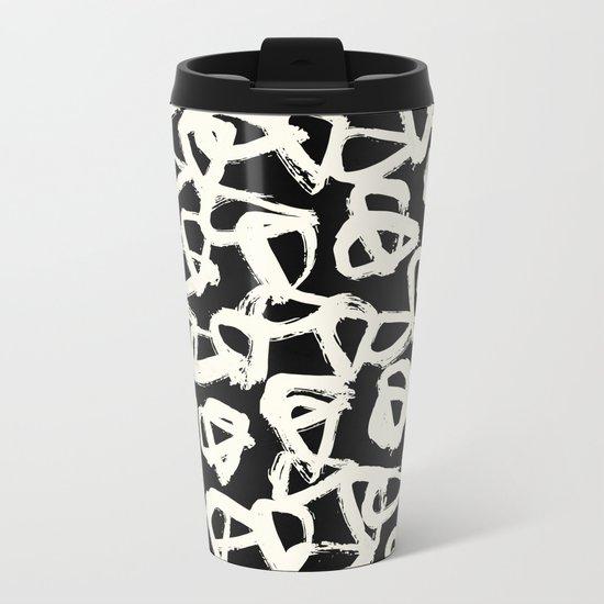 Tribal Triangle Dots Metal Travel Mug