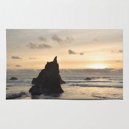 Arcadia Beach Sunset Lion Rock Oregon Coast Pacific Ocean Rug