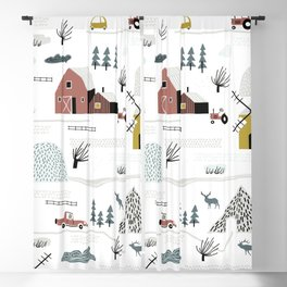 Winter In Dutch Village Cute Cozy Holiday Style Seamless Pattern Blackout Curtain