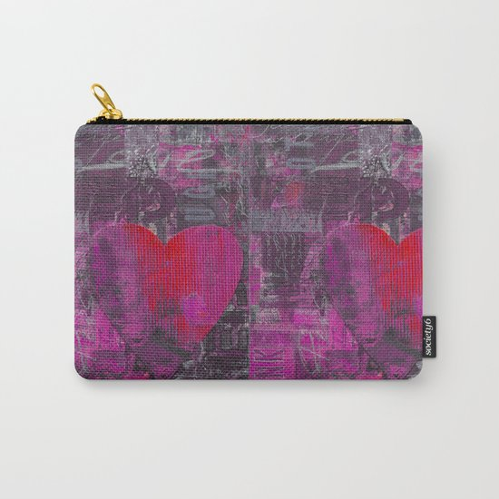 Passion red purple heart mixed media art Carry-All Pouch
