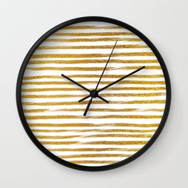Squiggly Gold Foil Brush Stroke Hand-Painted Lines on White Wall Clock