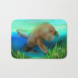Manatee Illustration Bath Mat