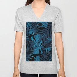 Tropical Jungle Night Leaves Pattern #2 #tropical #decor #art #society6 Unisex V-Neck