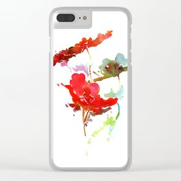 Red Wildflower Print Clear iPhone Case