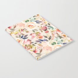 Hand painted ivory pink brown watercolor country floral Notebook