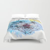 sam smith Duvet Covers featuring Curly Sam by Katy Lynn Brannign