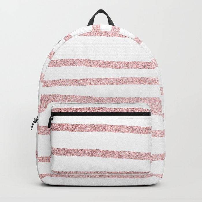 Simply Drawn Stripes in Rose Gold Sunset Backpack