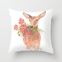 oana befort Throw Pillows featuring Lovely Deer by Oana Befort