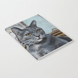 Greta the Gray Tabby on the Stairs Notebook