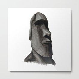 Easter Island Head Statue: Moai Acrylic Painting Metal Print