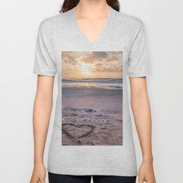 Love note Te Amo with the heart drawing on the beach at sunrise Unisex V-Neck