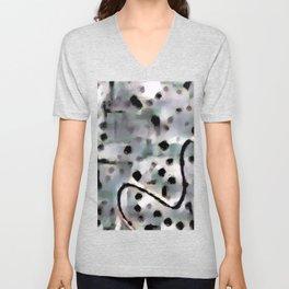 Line Art in Dotted Pattern Gray Soft Teal Black | Saletta Home Decor Unisex V-Neck