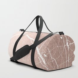 Paris France Minimal Street Map - Rose Gold Glitter on White Duffle Bag