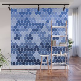 Honeycomb Blue Pattern | Geometric Shapes | Home Decor | Sapphire | For Him | For Her Wall Mural