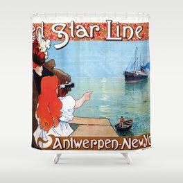 Red  Star Line Antwerpen New York Shower Curtain