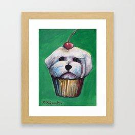 """""""Cherry on Pup"""" Maltese Cake Framed Art Print"""
