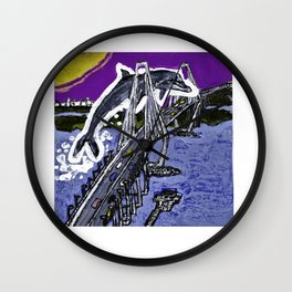 giant dolphin jumping over Charleston Ravenel bridge Wall Clock