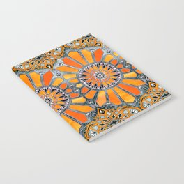 Celebrating the 70's - tangerine orange watercolor on grey Notebook