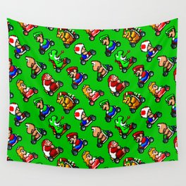 Super Mar!o Kart heroes | greengrass || retrogaming pattern Wall Tapestry