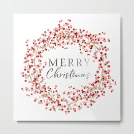 Merry Christmas wreath. Red berry Metal Print