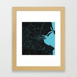 Dublin Ireland Black on Turquoise Street Map Framed Art Print