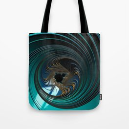 BEYOND metallic sea green and gold circular fractal universe Tote Bag