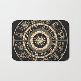 Vintage Zodiac & Astrology Chart | Charcoal & Gold Bath Mat