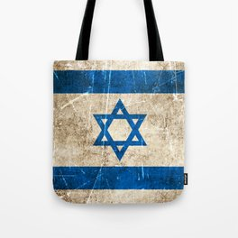Vintage Aged and Scratched Israeli Flag Tote Bag